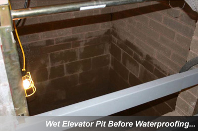 Wet Elevator Pits, Waterproofing - MA, NH, RI, & CT