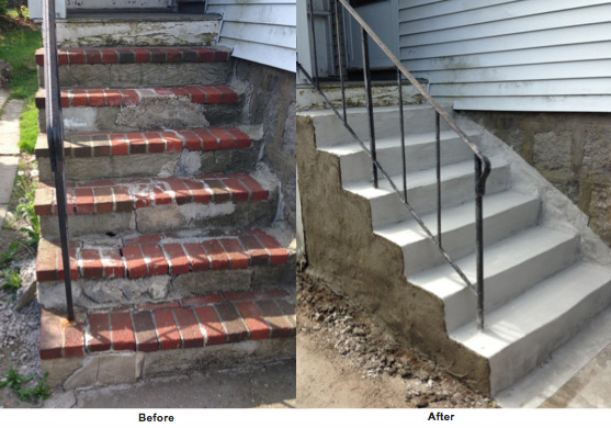 Residential Concrete Steps Repair Brick Stone Stair Repairs